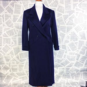 Plum Purple 100% Wool Pea Long Coat Winter 10